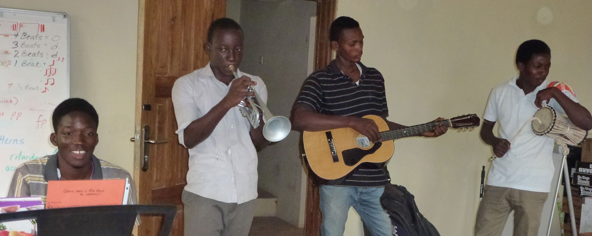 student band playing at egbe music school