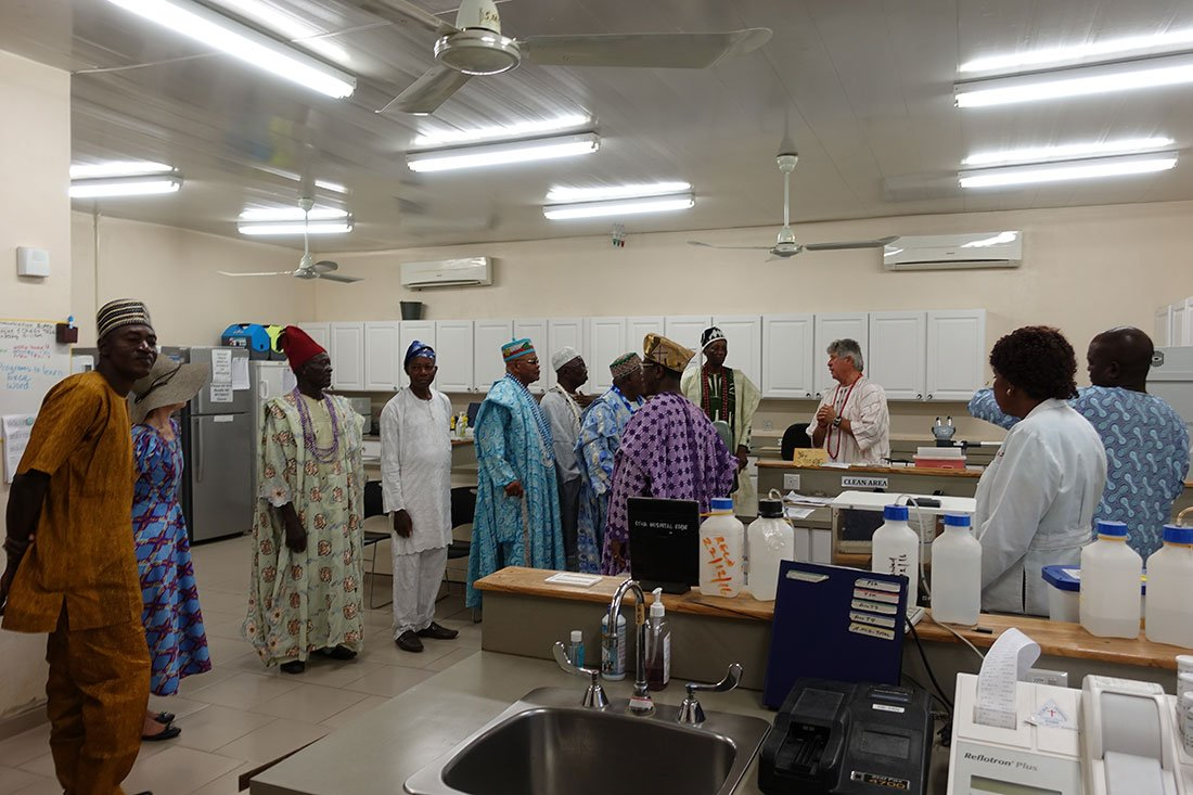 Egbe Chiefs at hospital laboratory