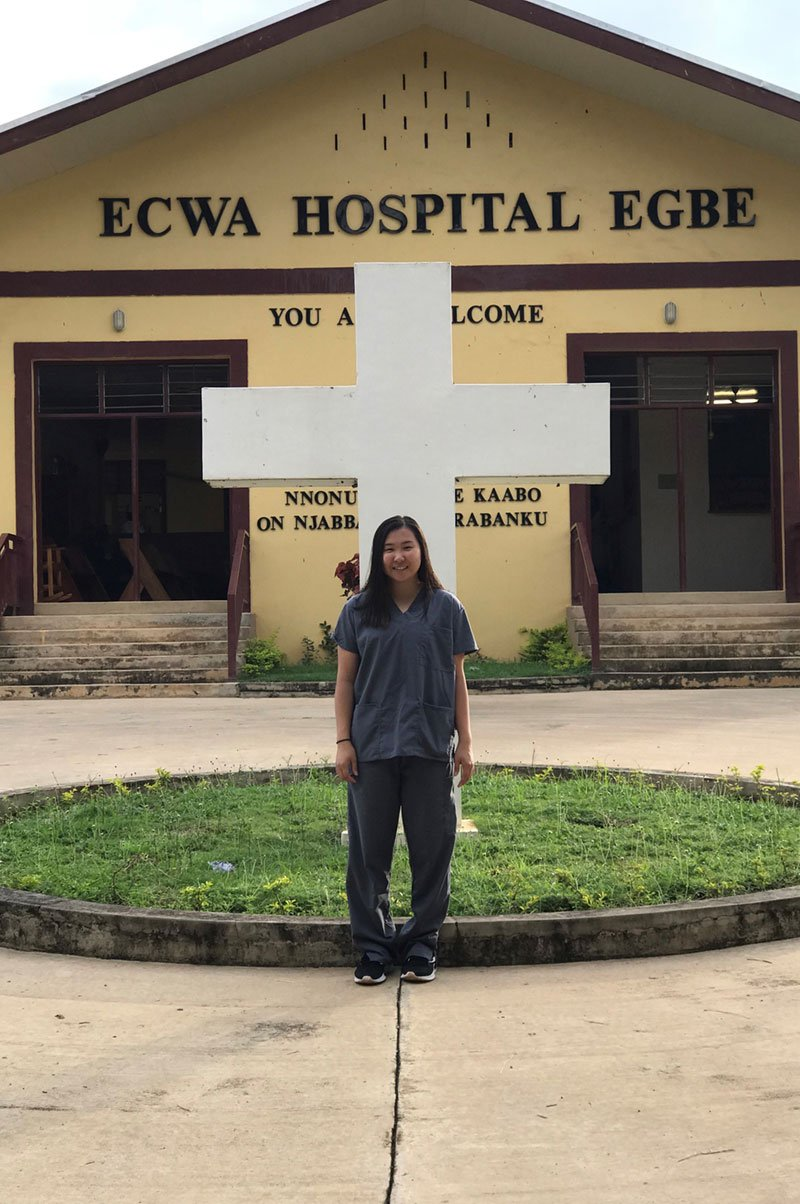Joanne in front of Egbe Hospital