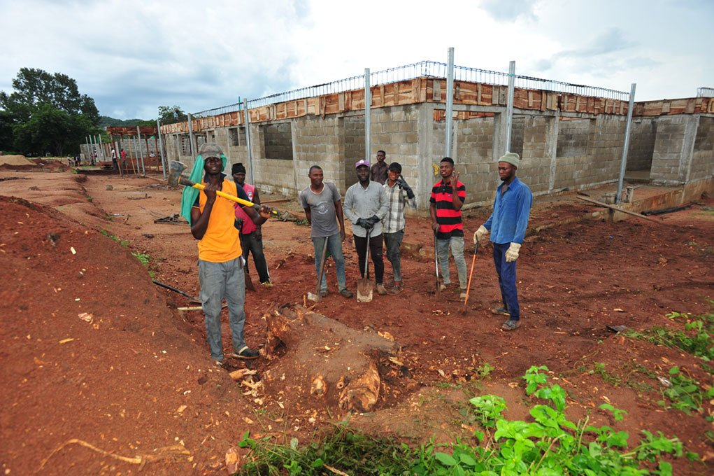 Construction on Administrative building with study hall